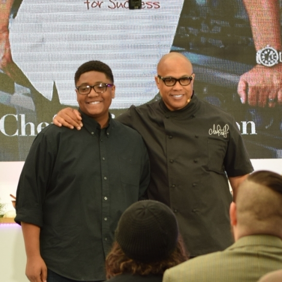 Cheff Jeff Henderson and Chef Bryce Taylor pose after their session at Food Lab@Light City