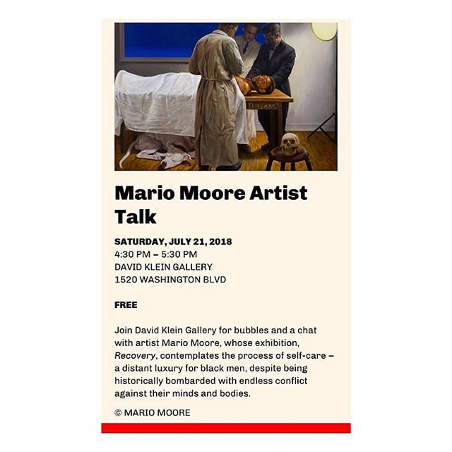 """Come through for Detroit Art Week. Check out multiple events around the city of Detroit, from artist talks, studio visits to exhibitions. @detroitartweek @davidkleingallery . Join our art editor @mariomooreart as he gives an artist talk about his show """"Recovery"""". Saturday, July 21st at 4pm. #detroit #contemporaryart #artisttalk #blackmen #blackmensguide #yalealumni #collegeforcreativestudies #rest #art #artcollectors #black"""