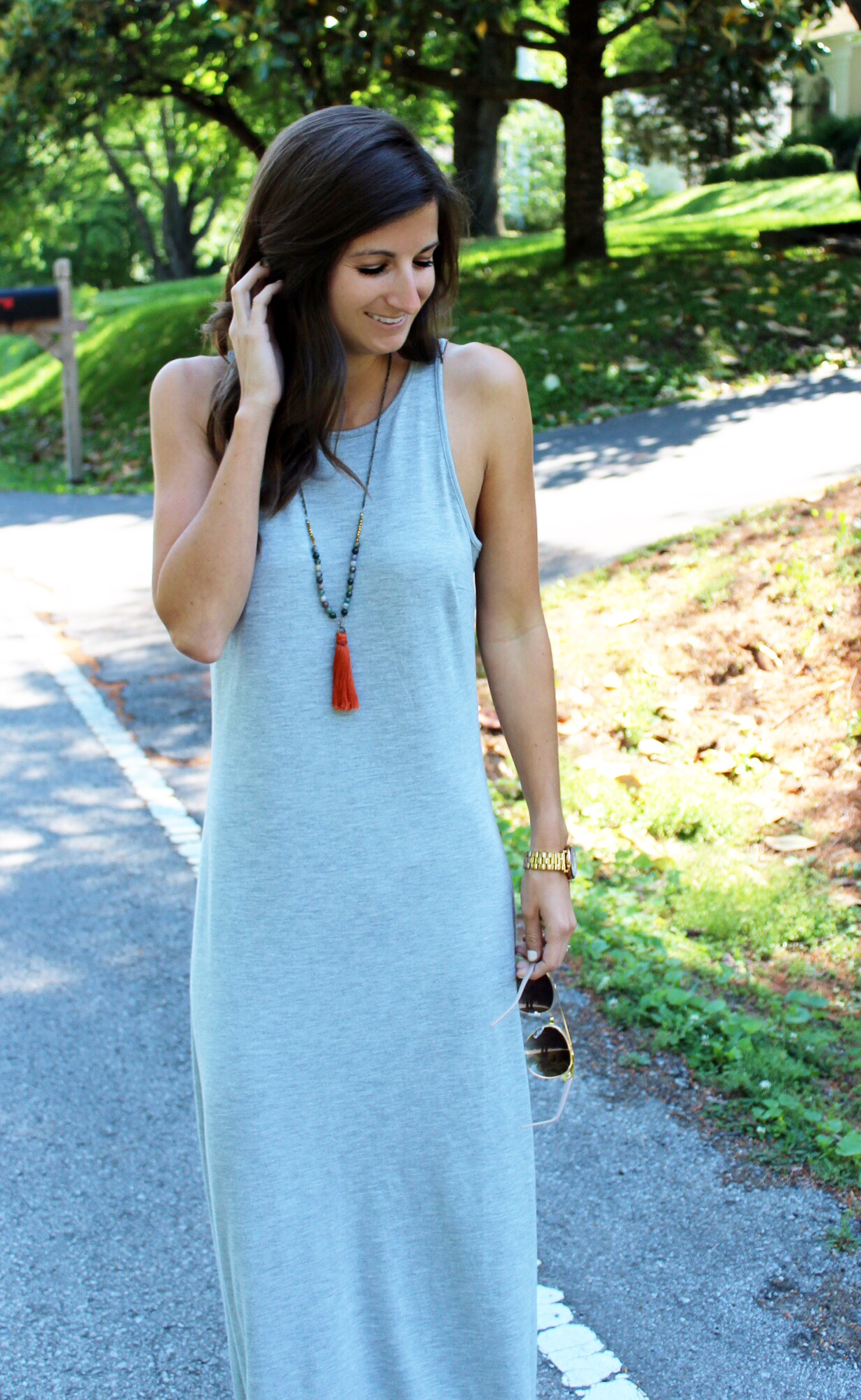 Dress -  Old Navy   Necklace -  Laura Crawford Designs