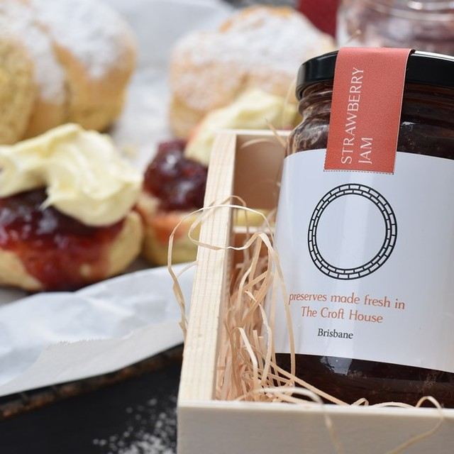 If you're visiting Brisbane, pop in for a jar of our chefs strawberry jam. It's a delicious little souvenir to take home to your loved ones and makes a great gift. While you're here, ask for chef's secret scone recipe. We promise it's a match made in heaven 😍  #thecrofthousebrisbane #visitbrisbane #brisbane #housemade #strawberryjam #brisbanecbd