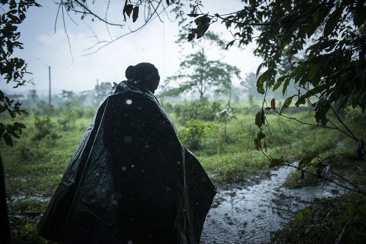 A rainfall comes down on the camp. A guerrillero goes to a tent protecting himself with a plastic coak. The region is a gateway to the Amazon and its jungle. The rain is really heavy most of the time. (June 28, 2016, South Caquetá)