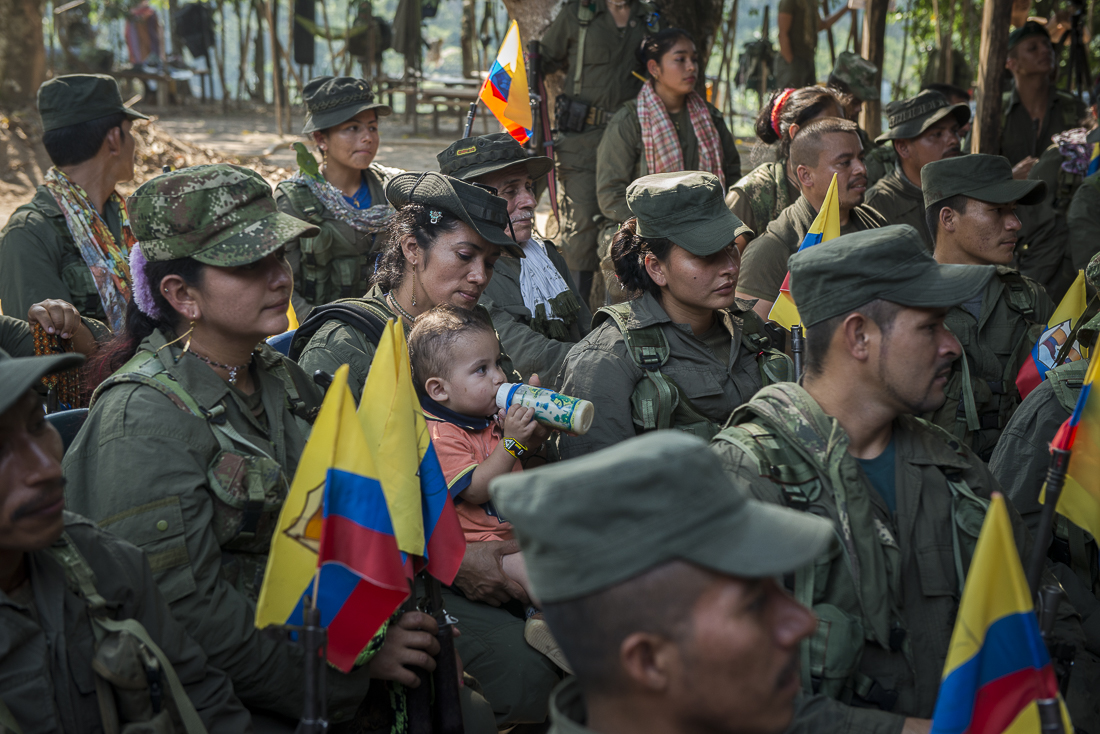 February 17, 2017, the day before moving to the transitional zone, the guerrilleros of the 3th, 14th and 15t front have a meeting with the high comander Ivan Marquez. A guerrillera comes with her child.