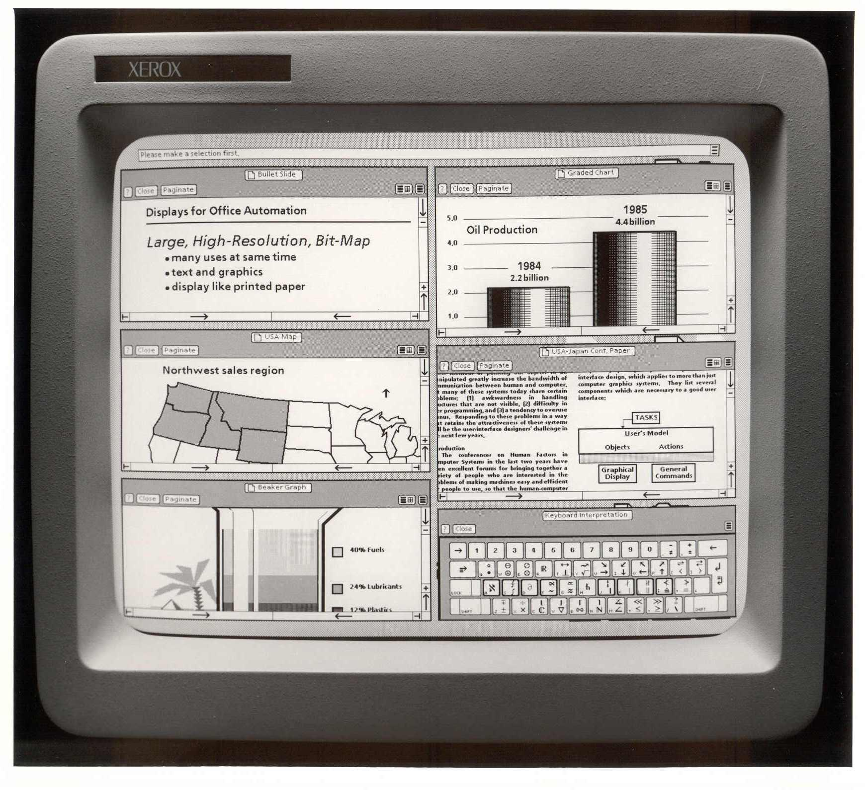 The Xerox Star workstation introduced the first commercial Graphical User Interface (GUI) operating system in 1973
