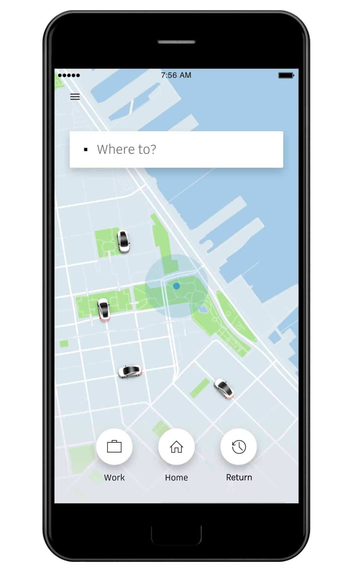 "The Uber app gives users a quick shortcut to ""Return"" when it's launched shortly after completing a trip"