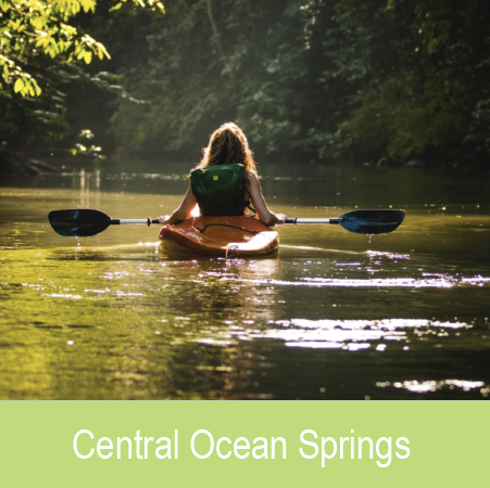 - A few minutes past the City of Discovery, near the bustling hospital, lies Central Ocean Springs. Filled with a plethora of outdoor activities and opportunities, it is the perfect area for those who enjoy nature while still being close to all the action of Downtown.