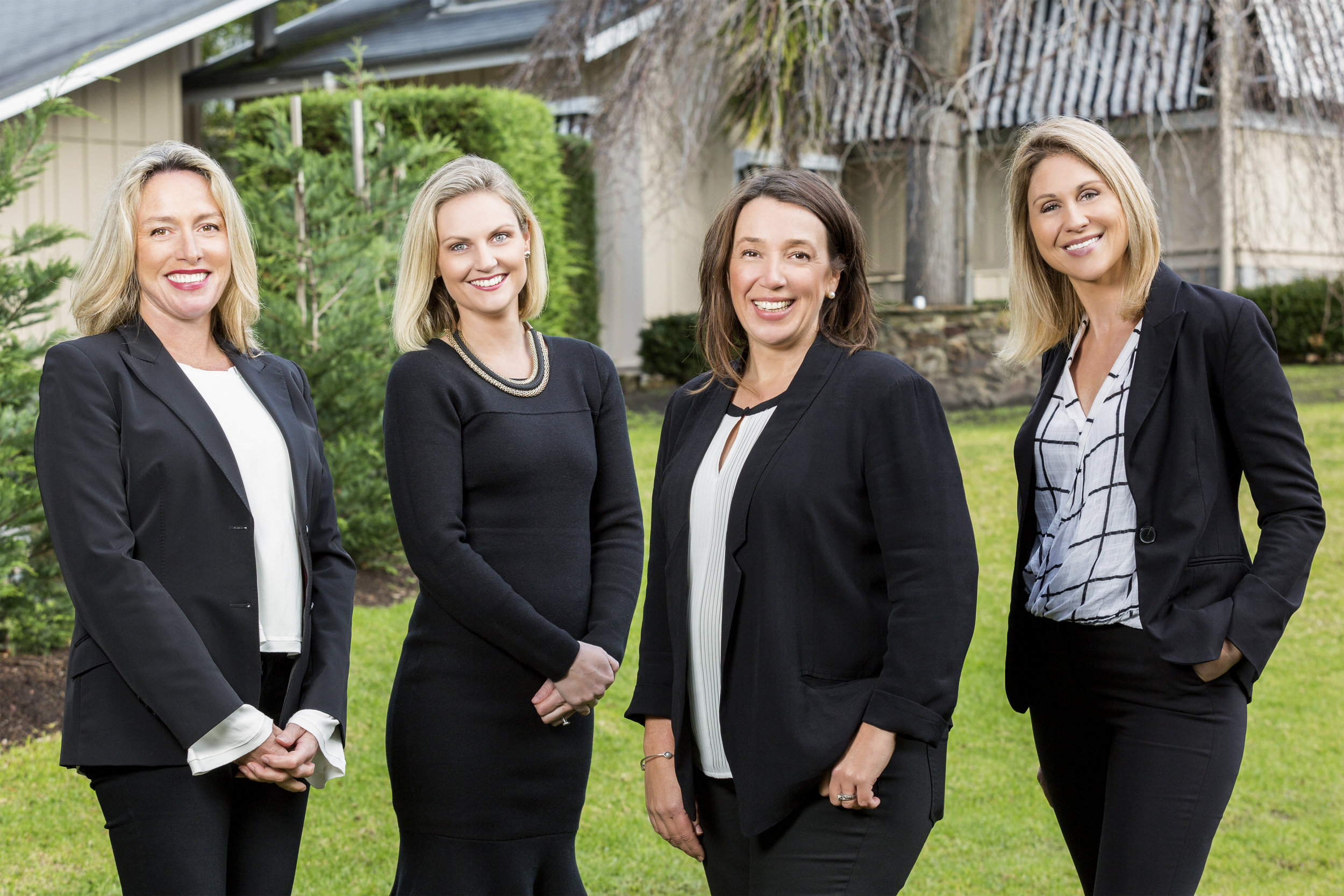 Image from left to right: Linda Lane, Sales Support and Client Services; Amber Sealey, Sales Assistant; Vicki Sayers, Director and Licensed Estate Agent; and Katie Taplin, Office Manager (Marketing and Sales Administration).