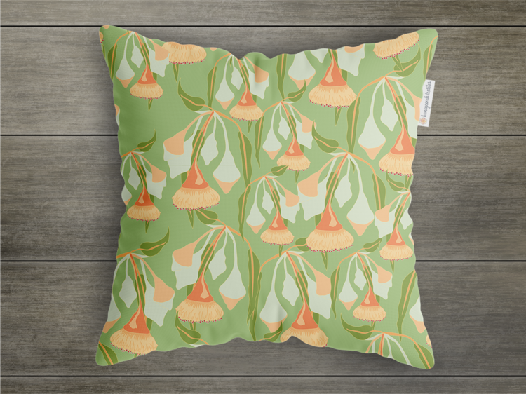 Gum Blossom throw cushion  45 x 45 cm and available in a range of fabrics.