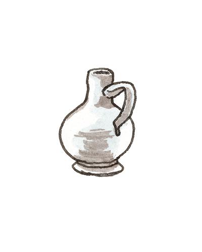 London, England    Bottle, ca. 1680  Tin-glazed earthenware, 2001.22