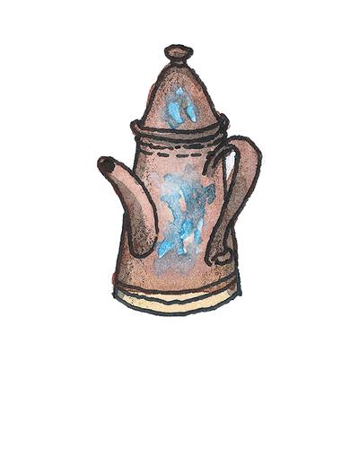 Staffordshire, England   Coffeepot, ca. 1710  Stoneware, enamel, 2001.41