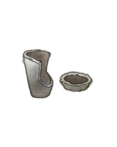 Unknown Origin   Crucible and Cupel, 17th – 18th century  Unglazed stoneware, 2009.12.1,.2