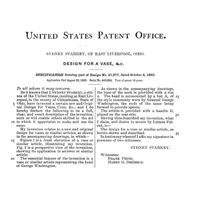 US Patent 21,877, Design for a Vase