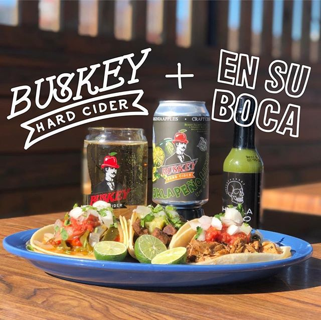Buskey Jalapeño Lime cans are back this Friday and we've invited our pals from @ensuboca_taqueria to serve tacos at our place during the release. Get ready for the hottest release of the year. Link in bio. #GetBuskey . // Tacos //    JALAPEÑO LIME CHICKEN - ****ONE DAY ONLY**** crafted with limes and jalapeños to pair with Buskey Jalapeño Lime Cider    CARNE ASADA - citrus marinated grilled steak, served with tomatillo salsa verde    RAJAS - fire roasted poblano peppers, grilled red peppers, caramelized onions, fire roasted tomato salsa *****All tacos are gluten free! . . #ensuboca #buskeycider #richmond #scottsaddition #virginia #hardcider #craftcider #jalapeñolime