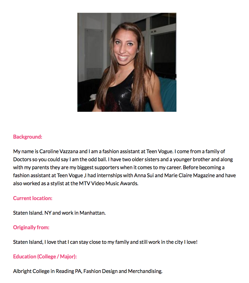 Mentor Mondays: Teen Vogue Fashion Assistant Caroline Vazzana