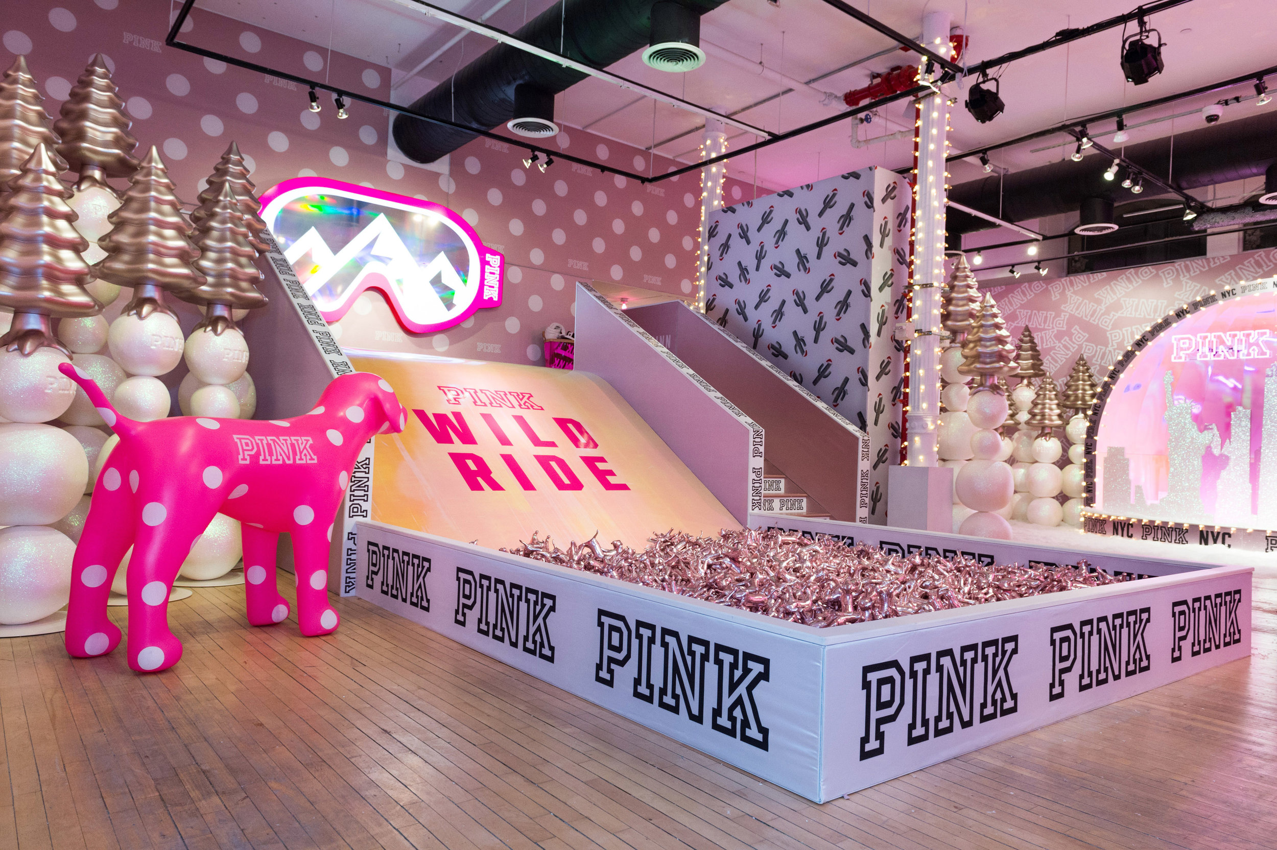 PINK Snowed Inn, experiential pop-up event