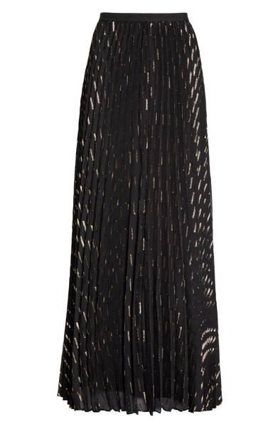 Eliza J Metallic Detail Pleated Chiffon Maxi Skirt