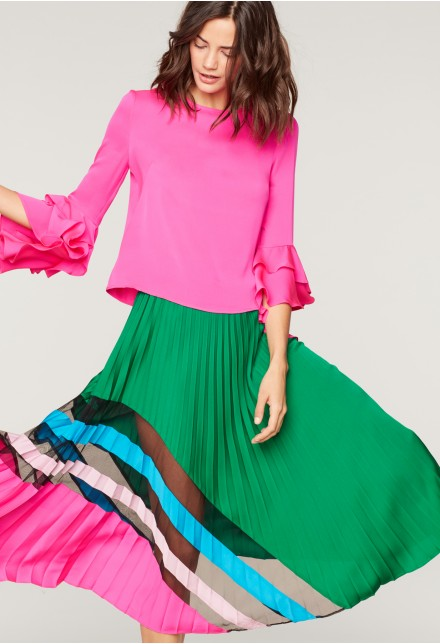 Milly Pleated Skirt, $595