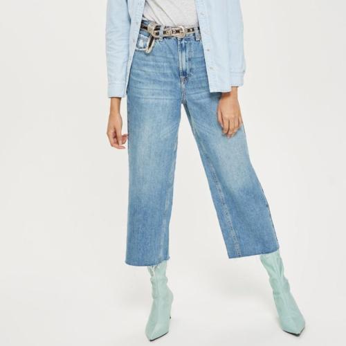 Topshop Petite Mid Blue Cropped Wide Leg Jeans, $75