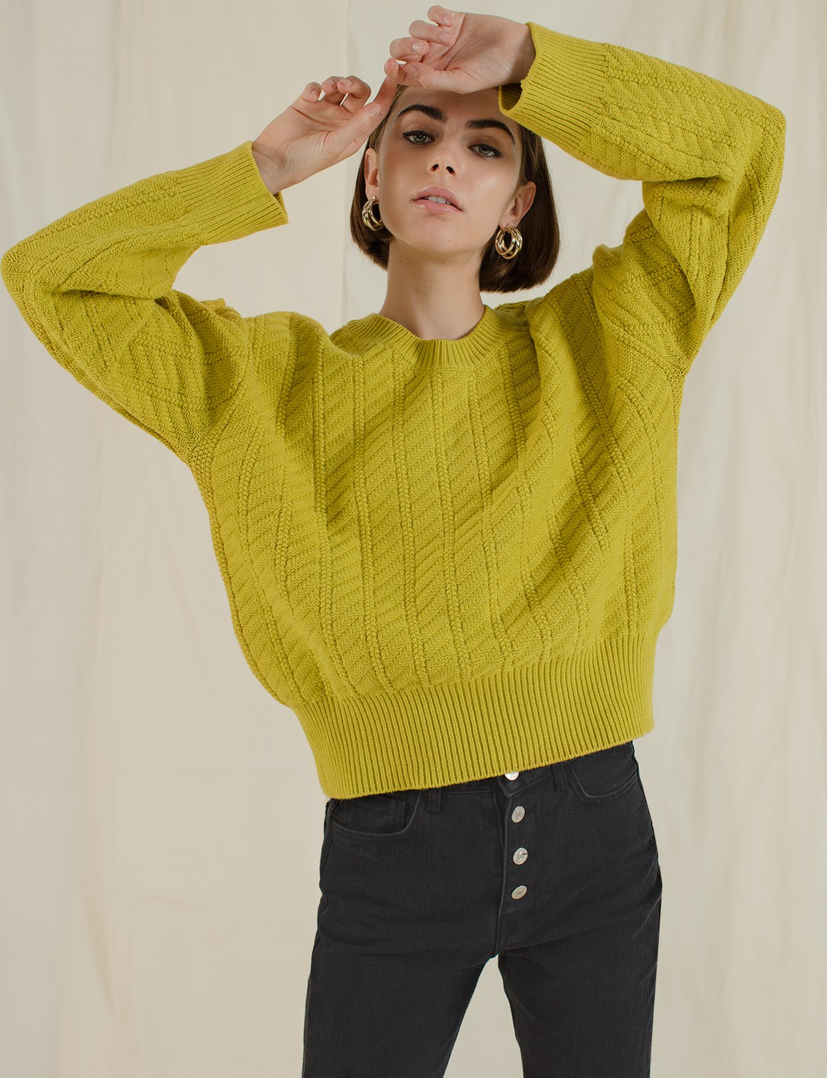 Chartreuse Cable Knit Sweater, $89