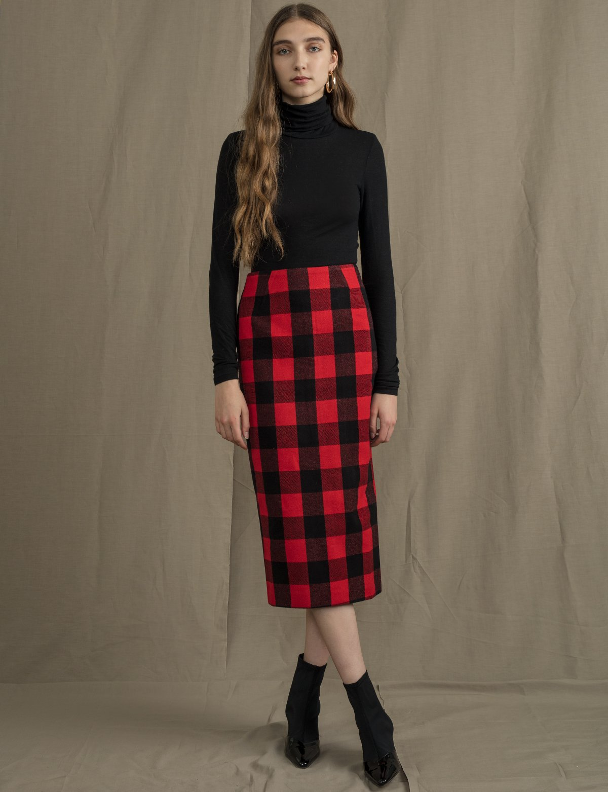 Red Plaid Pencil Skirt, $92