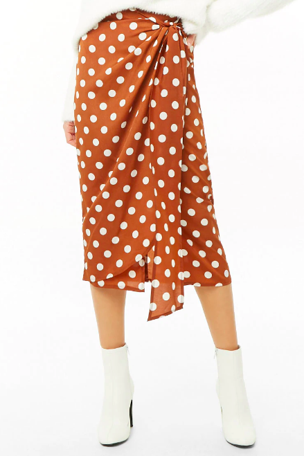 Polka Dot Wrap Midi Skirt, $32