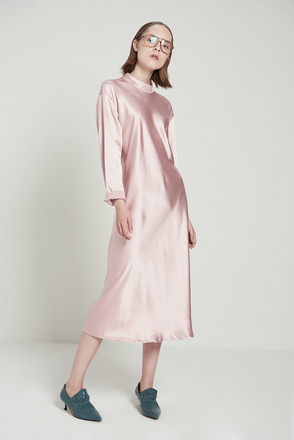 Shiny Turtleneck A-line Dress-Pink, $95