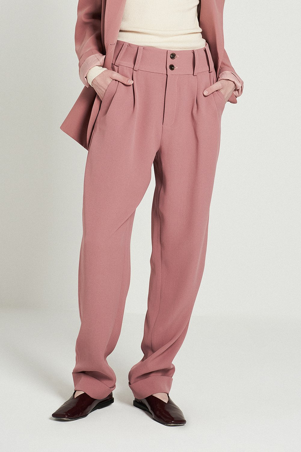 Suit Tapered Trouseres-Pink, $89.79