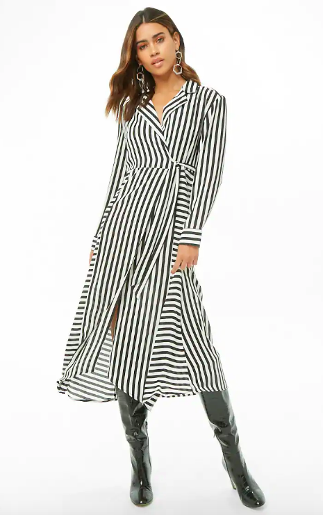 Striped Midi Wrap Dress, $35