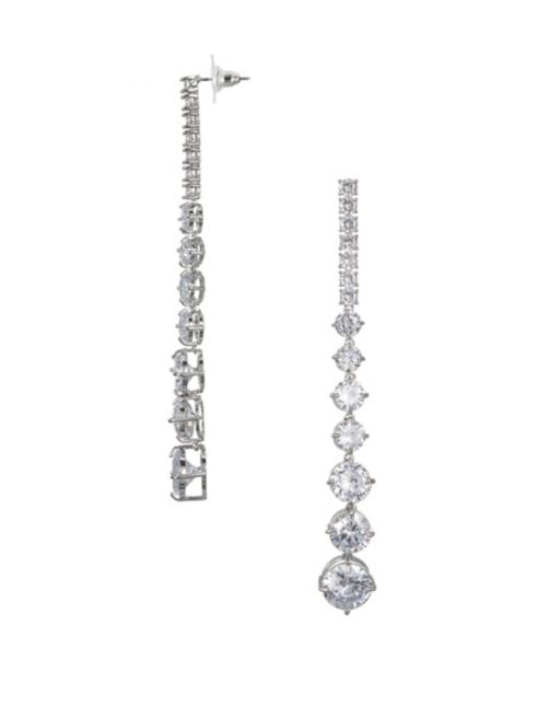 Nina Rayna Linear White Crystal Drop Earrings