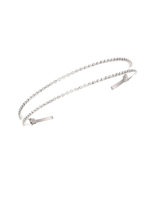 Nina Arionna Rhodium-Plated and Crystal Split Headband