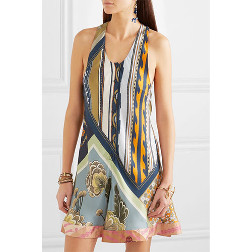 CHLOÉ Printed silk-twill mini dress mixed print dresses.jpg