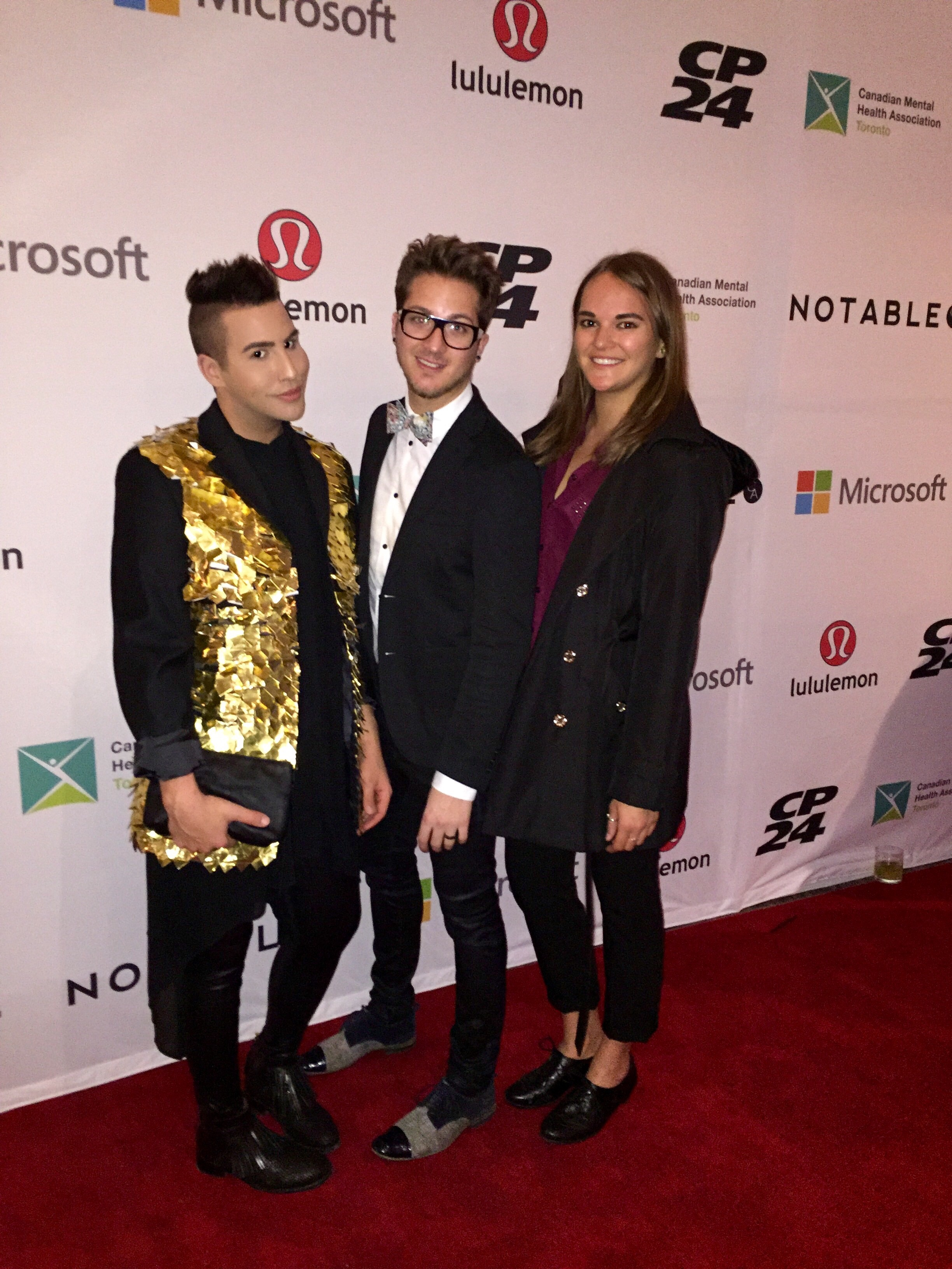 Red carpet with my hairstylist, Joshua Brea and friend, Eli. (Wearing designer: Lesley Hampton | www.lesleyhampton.com )