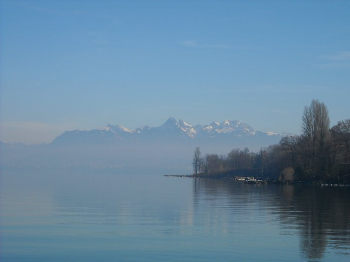 A view of the French Alps from Yvoire, one of the beautiful quaint towns en route from Evian to Geneva