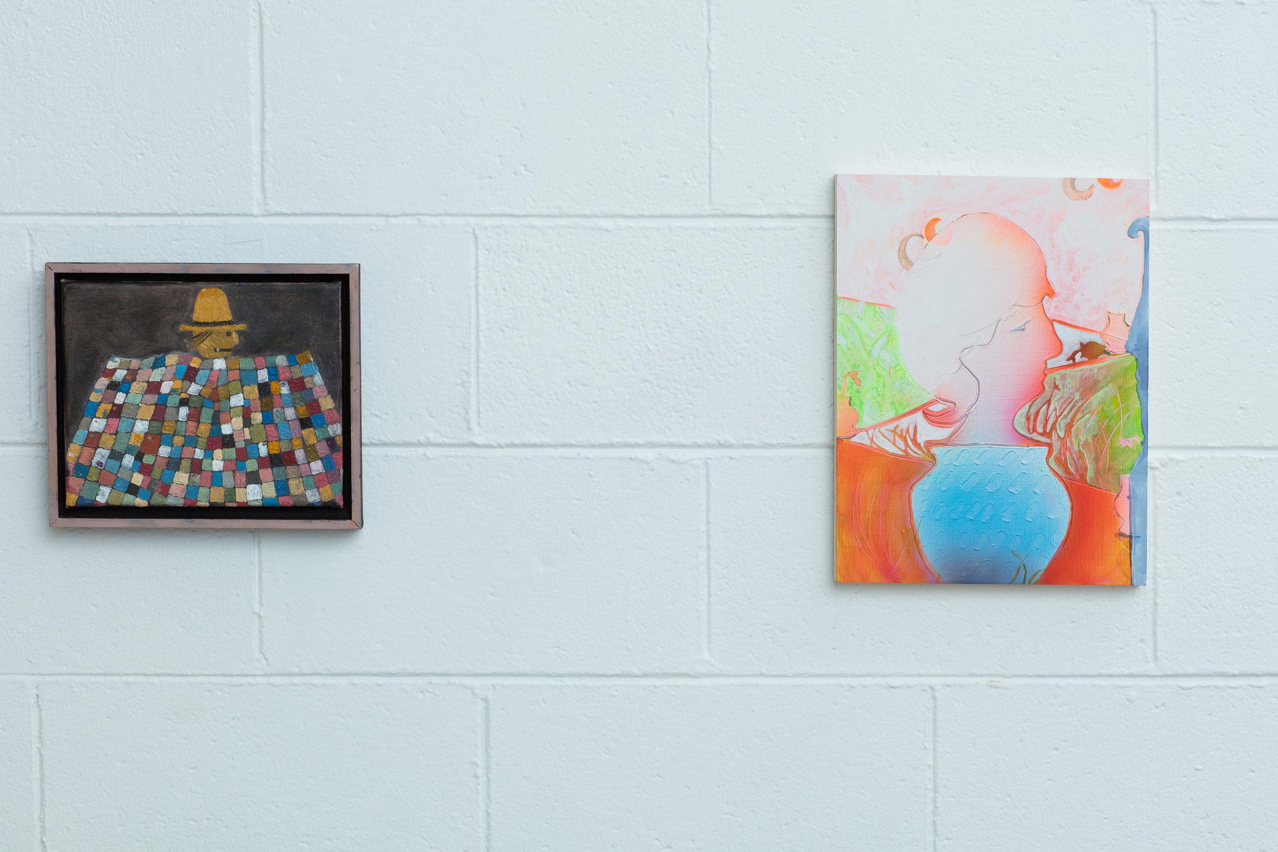 "Left: Scott Daniel Ellison  Scarecrow  Oil on canvas 8"" X 10"" 2017  Right: Catherine Haggarty  Plant Portrait as Sculpture  Fluid acrylic on panel 12"" X 9"" 2017"