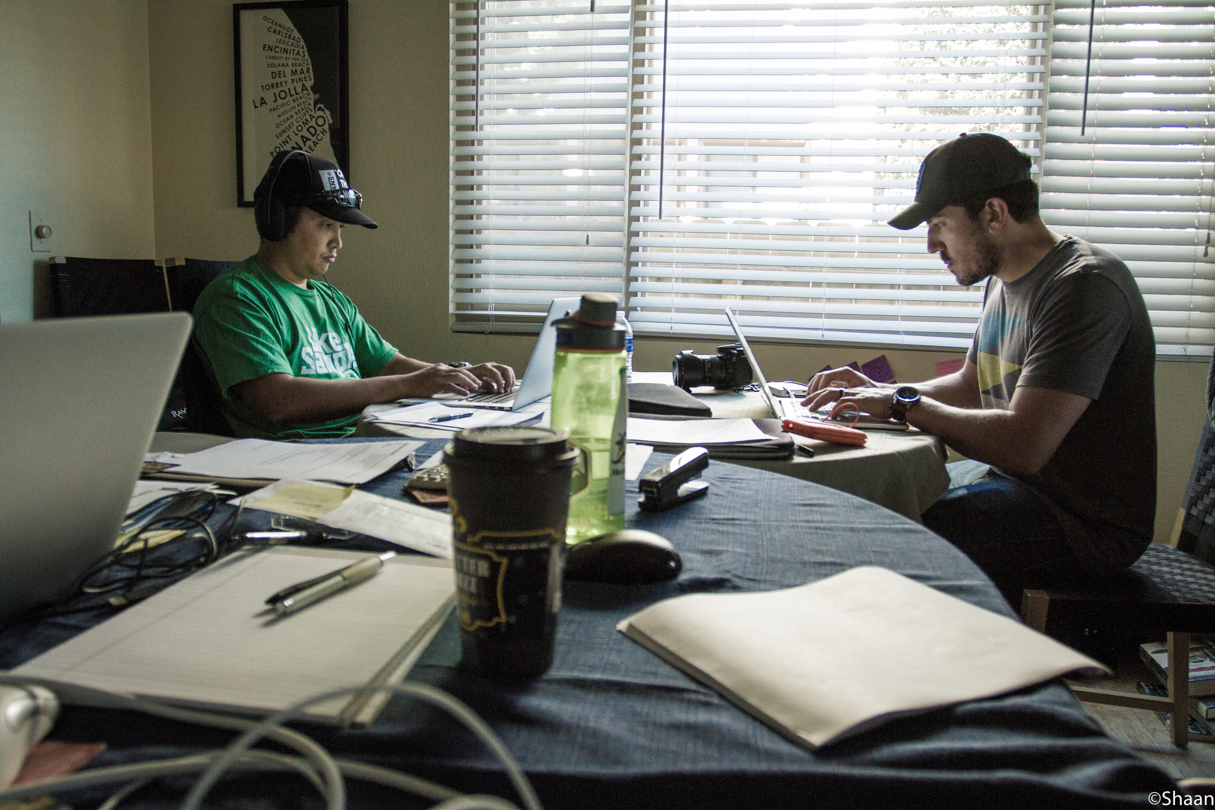 Kevin Wee and Dan Zelikman writing the final draft of Backsplash, after receiving the genre of parody during the 2015 Four Points Film Project. (Photo: Shaan Couture)