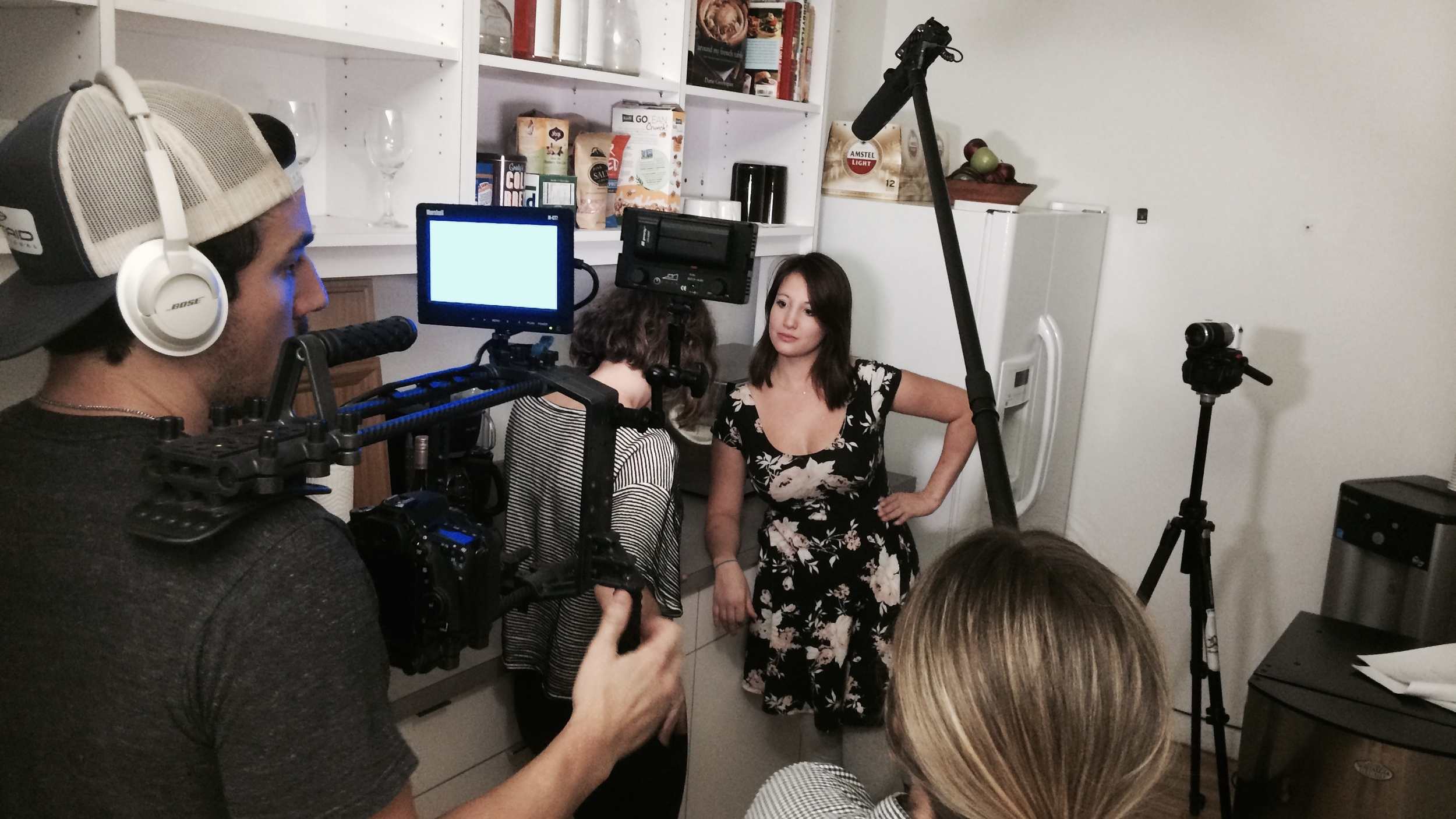 Dan Zelikman sets up the shot for the scene between Elodie and Hannah in the kitchen. (Photo: David Baumwoll)