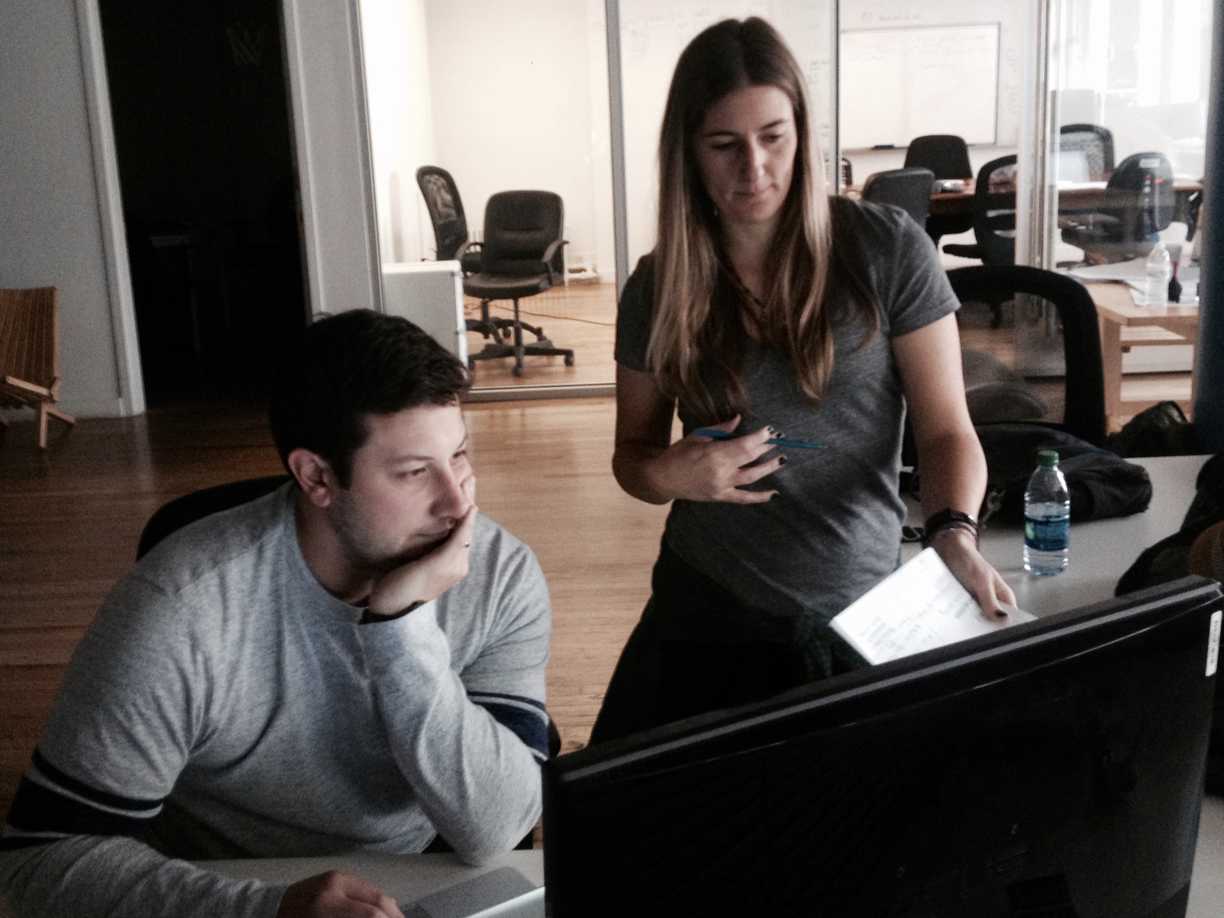 Writer/Producers Andrew Pavoni and Kim Perkins continue their edits of the script. (Photo: Dan Zelikman)
