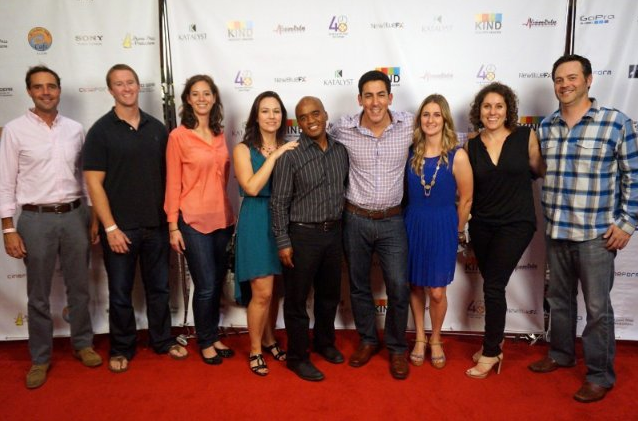 Dan Zelikman and David Brooks attend the premier of The Janitor with their friends and family in San Diego, California.