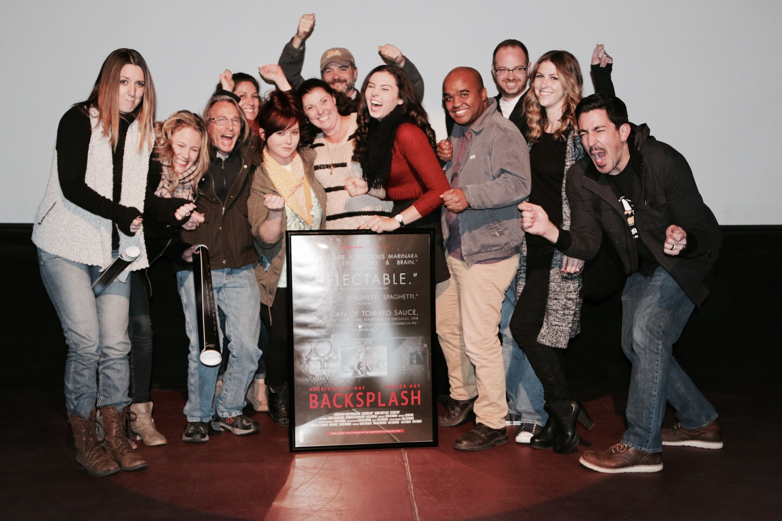 The Backsplash team celebrates on stage after our premier at Cinema Under The Stars in San Diego, California on December 16, 2015 (Photo: Kim Zelikman)