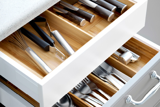 Every house has a junk drawer. Make sure every  drawer  isn't a junk drawer by using easy to install moveable drawer organizers. Because they aren't fixed, it's easy to add or remove items while keeping things spotless.