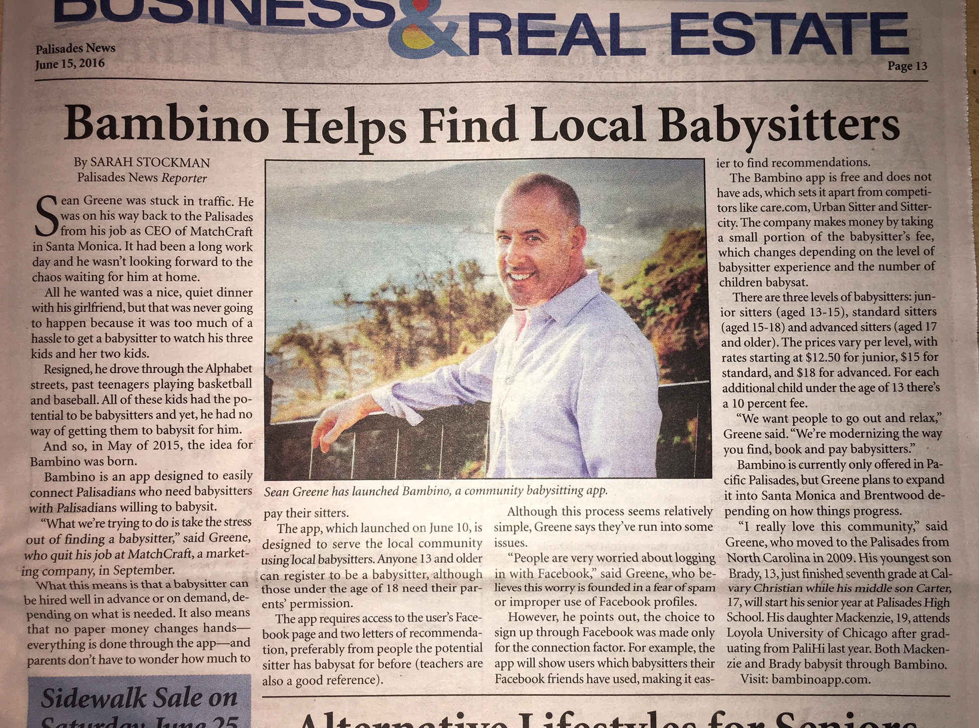 Bambino feature in the Palisades News.jpg