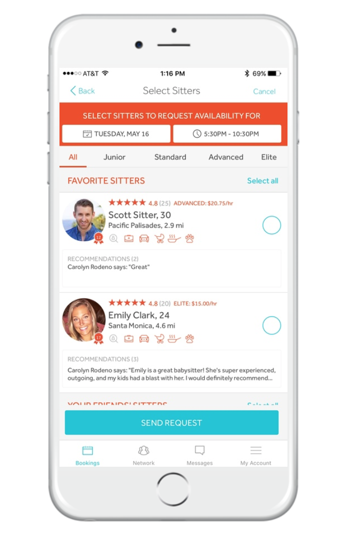 BOOK - Select your date and time, request as many sitters as you'd like, then confirm an available one.Bambino can help by finding you an available Suggested Sitter who wasn't included in your original request. Check them out and confirm if it works for you!