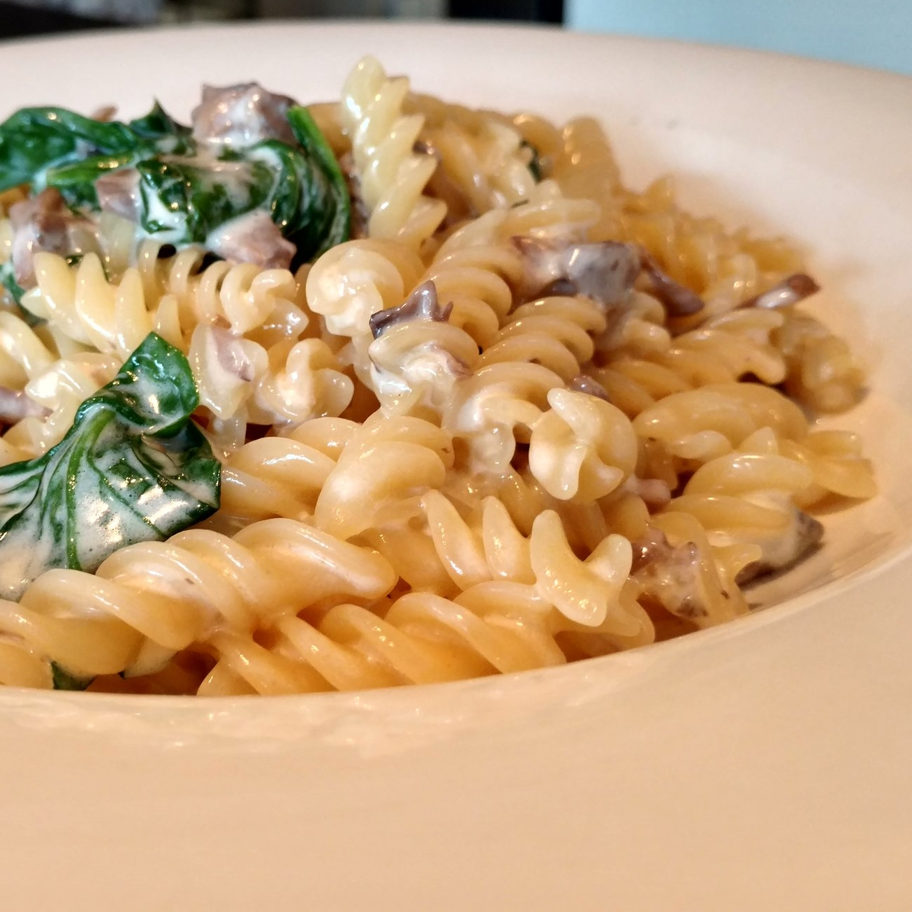 Fusilli Spinach Mushrooms