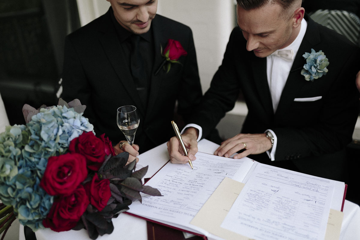Alexander Ross and Nicholas Ross from Same-sex wedding directory Mr Theodore legally get married at Entrecote in South Yarra. Photos by Olivia and Thyme.