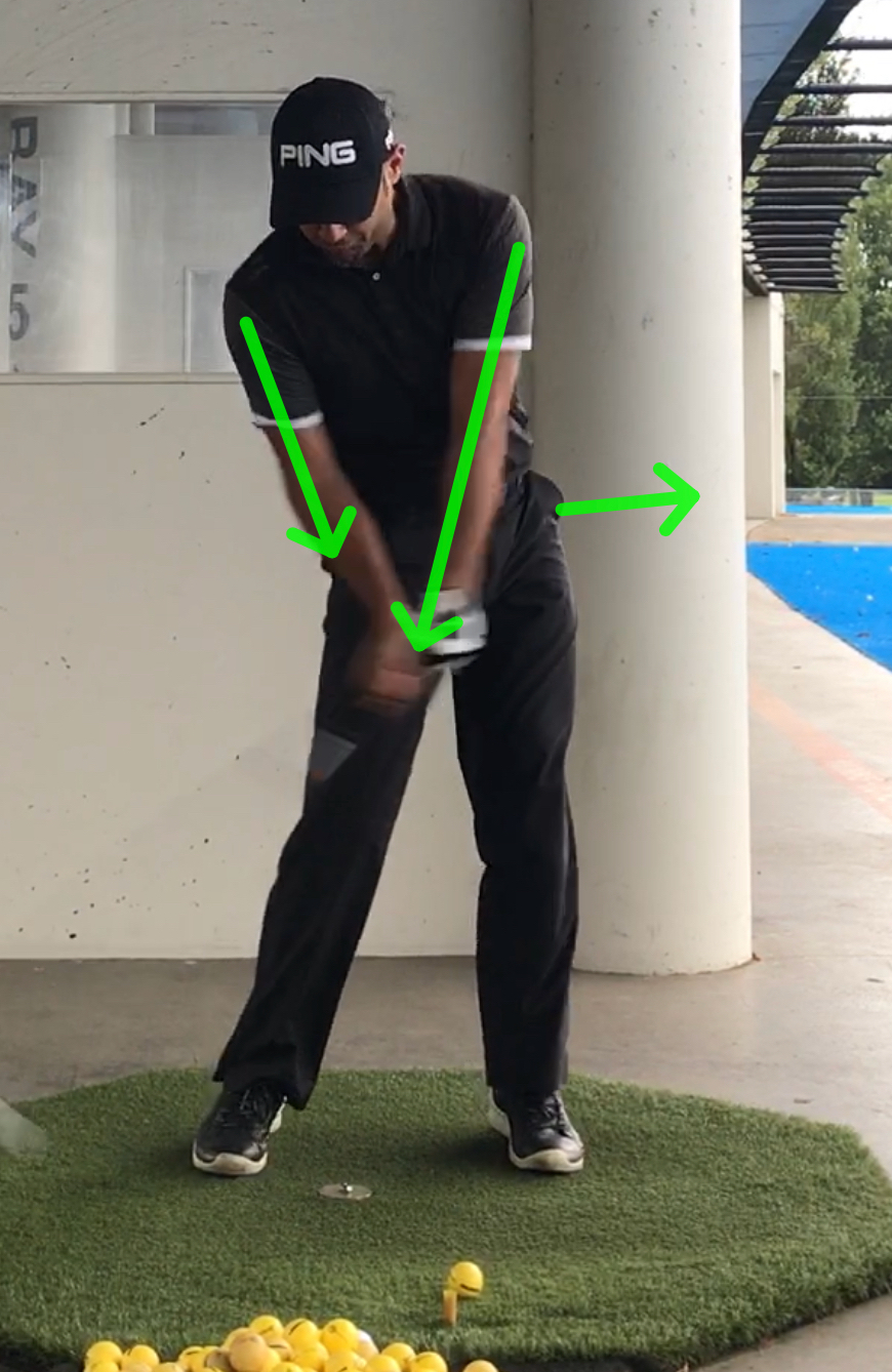 Left arm moves down chest making way for right arm