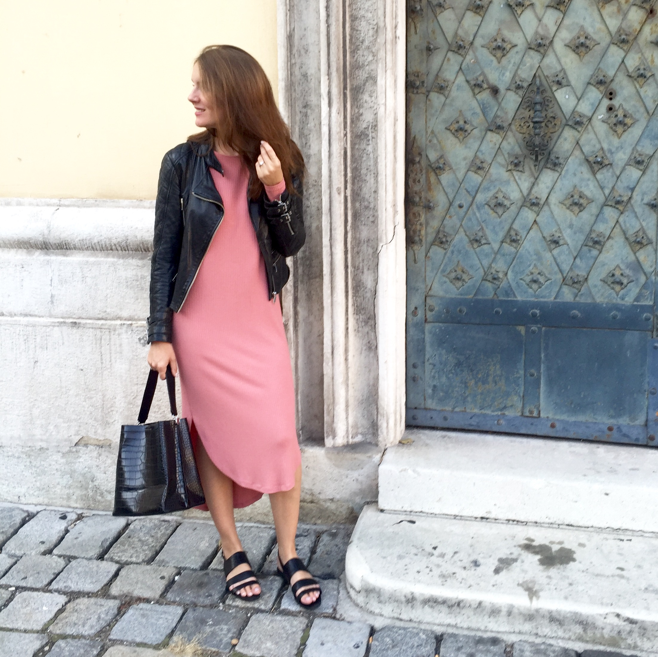 Dress  ASOS £22 , Bag  Zara £39.99 , Sandals  sold out . Leather Jacket  sold out