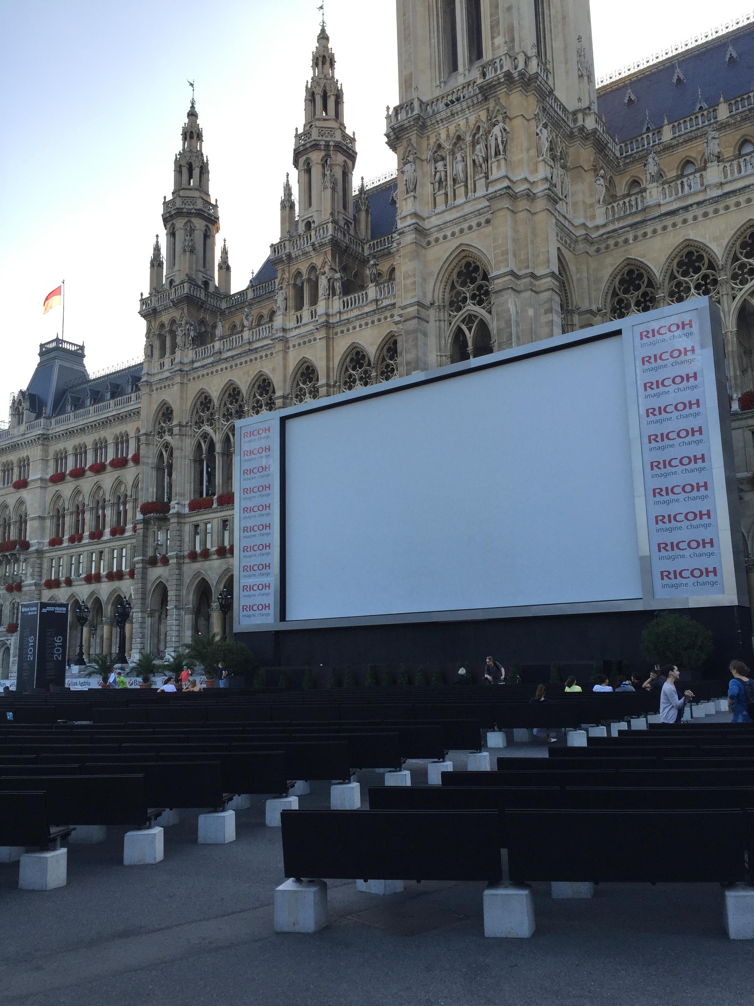 The outdoor film festival at the  Rathausplatz.