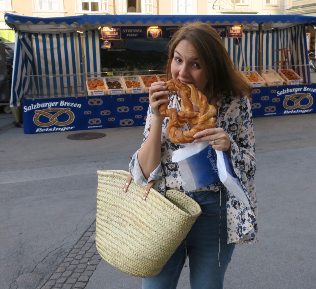 Pretzel heaven at the Salzburg market.