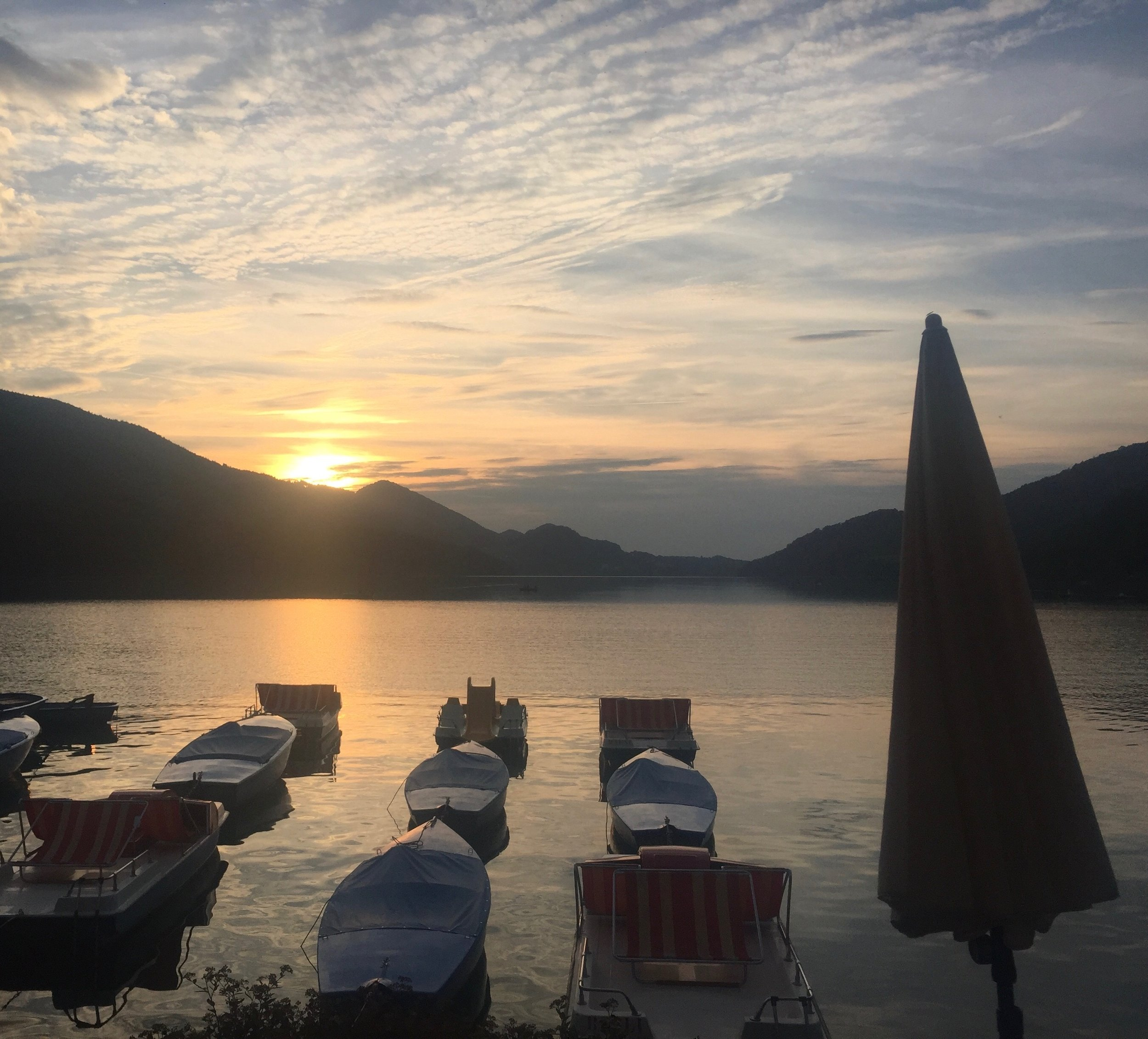 The view from dinner at Schlick Lake Fuschl Am See.