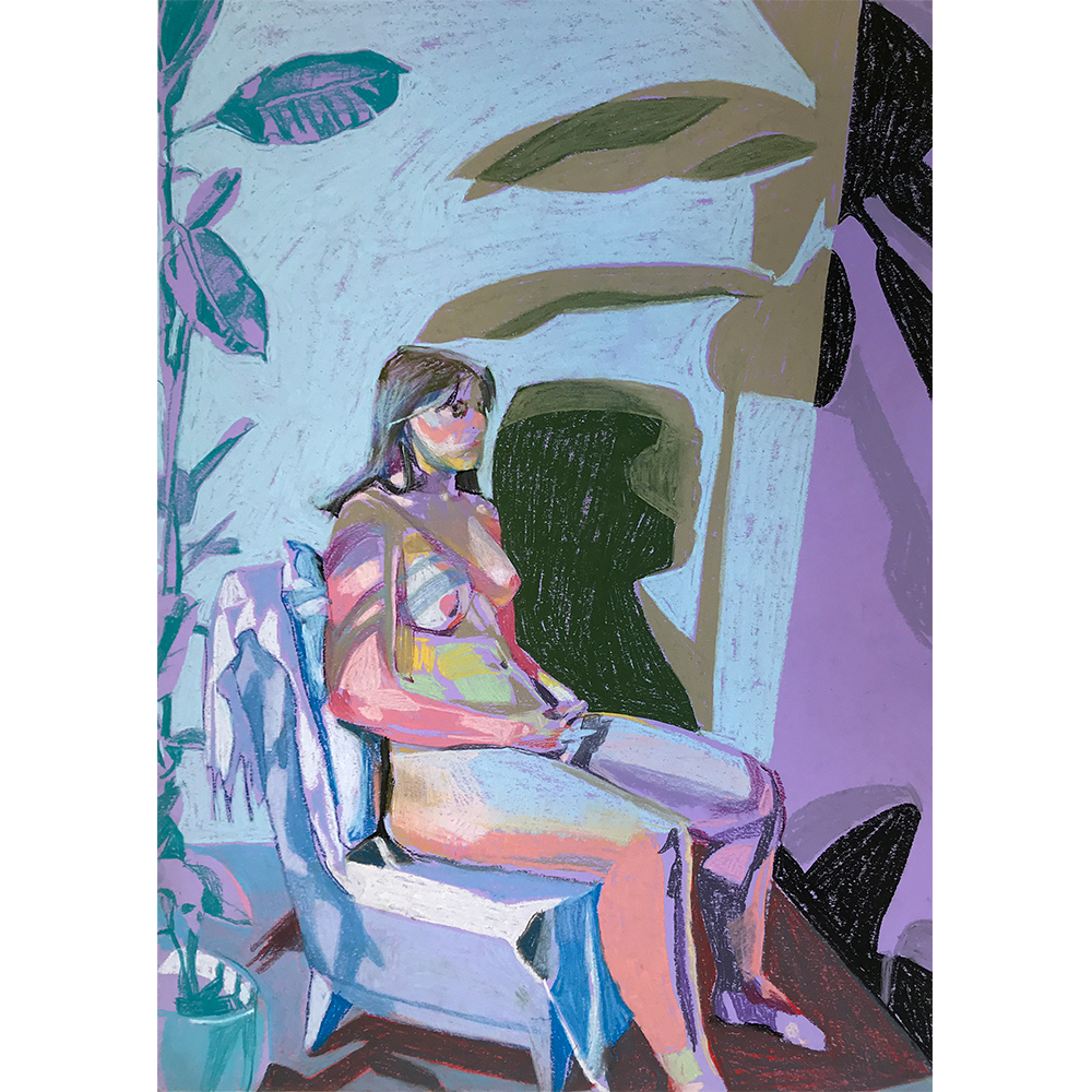 Nude+on+purple+with+blue+wall+and+blue+plant,+Hester+Finch,+Pastel+on+Paper,++41.8+x+29.6cm,+£475,+Partnership+Editions.jpg