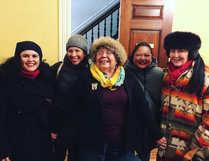 First Nations Warrior Women at the First First Nations Dialogues NY.  With Paola Balla, Emily Johnson, Muriel Miguel from Spiderwoman Theatre, Angela Flynn and Diane Fraher from American Indian Artists Inc. AMERINDA